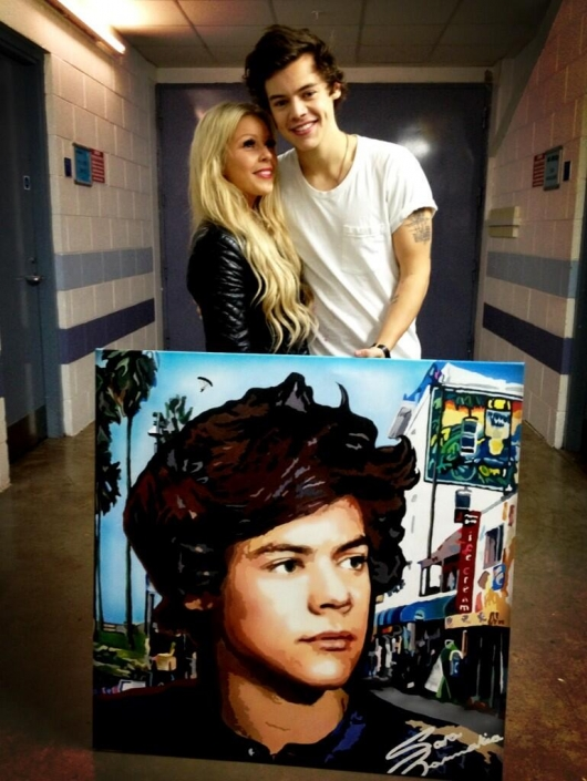 one direction,1d,1d sheffield 14.04.13,harry styles,take me home tour backstage, fan, harry painting, dipinto harry